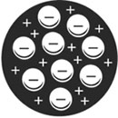 Рис. 1. Атом Томсона: электроны в облаке, имеющем положительный заряд